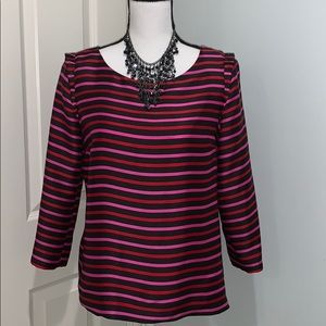 RSVP By Talbots Multicolored Striped Blouse 3/4